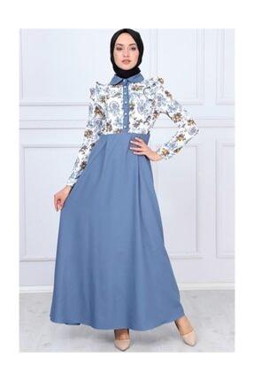 Modamihram Kolları Fırfır Detaylı Tesettür Elbise Bebe Mavisi 0