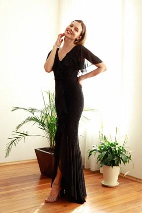 TRENDYOLMİLLA Siyah Volan Detaylı  Abiye & Mezuniyet Elbisesi TPRSS20AE0307 1