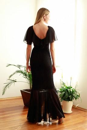 TRENDYOLMİLLA Siyah Volan Detaylı  Abiye & Mezuniyet Elbisesi TPRSS20AE0307 4