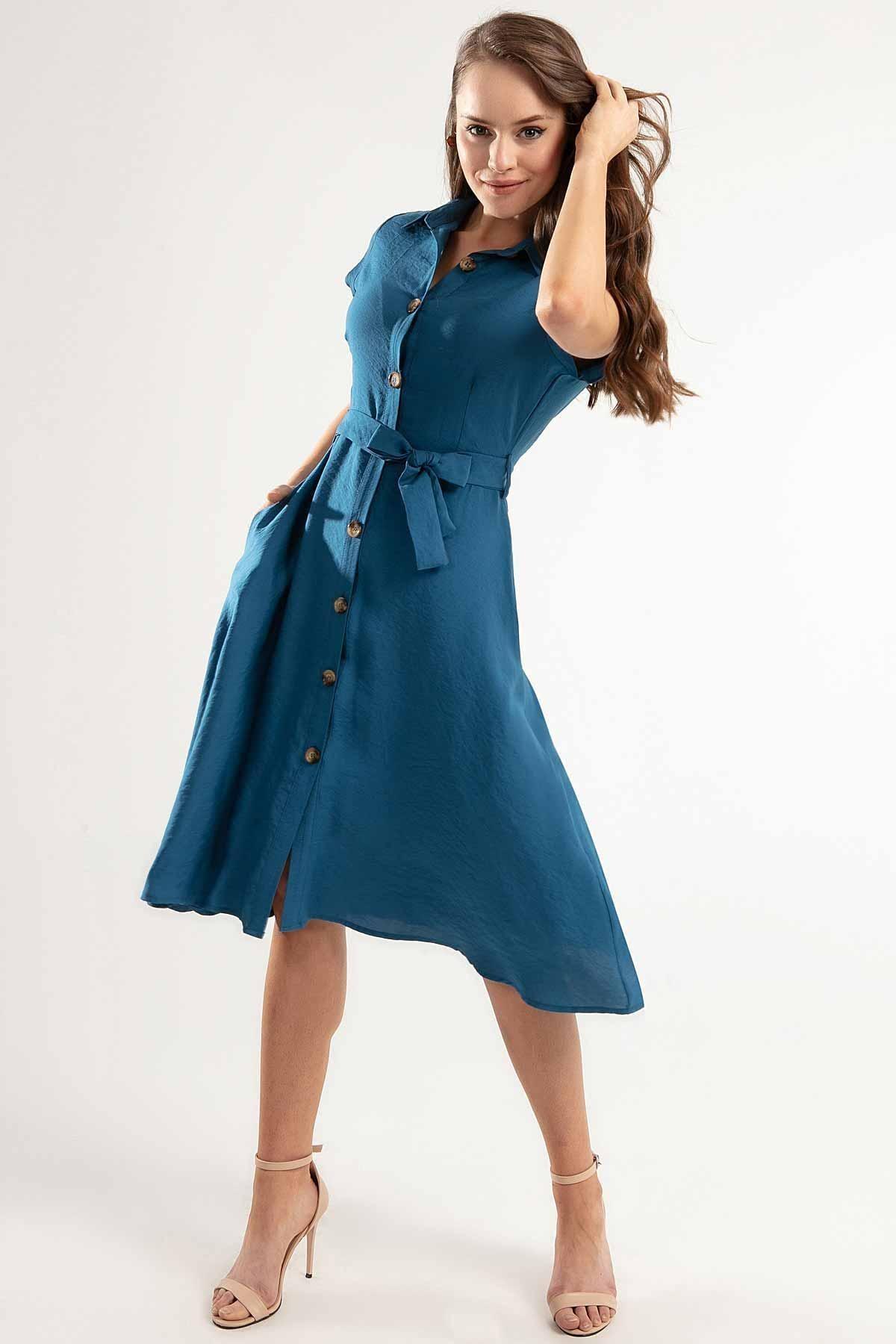 Y-London Kadın Kuşaklı Kısa Kollu Kloş Gömlek Elbise Y20s110-1677 0