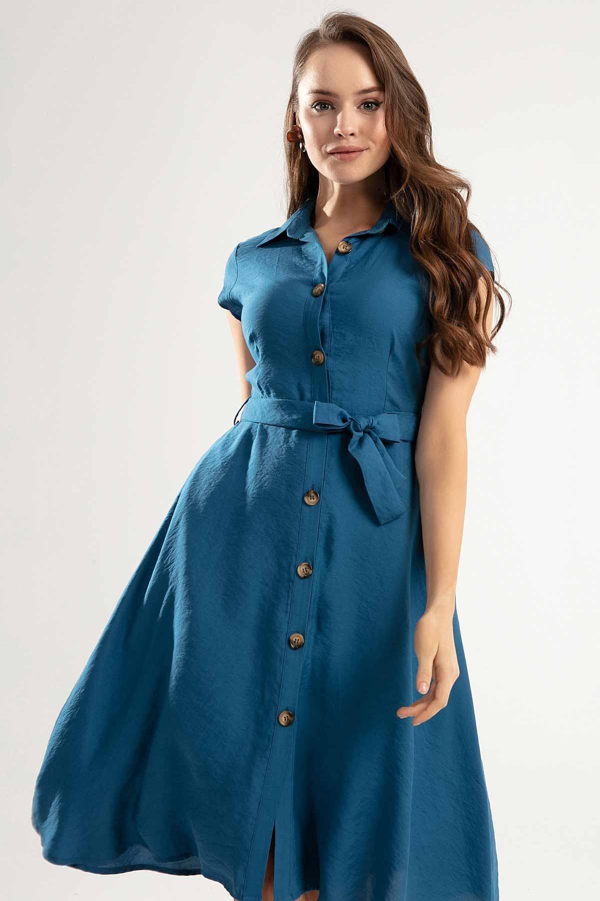 Y-London Kadın Kuşaklı Kısa Kollu Kloş Gömlek Elbise Y20s110-1677 1
