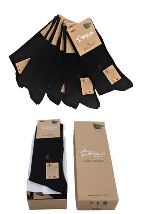 Star Socks Siyah Erkek Bambu Soket / 6çift / 200 Iğne / Burun Dikişsiz 0