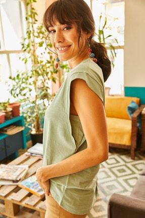 Olalook Kadın Mint Koltuk Altı Parçalı Yarasa T-shirt TSH-19000330 1