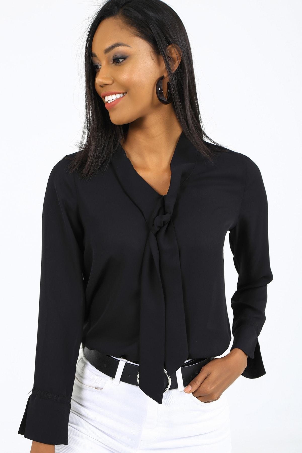 EMJEY Kadın Siyah Önü Bağlamalı Kolları Manşetli Gömlek She020B010059 3