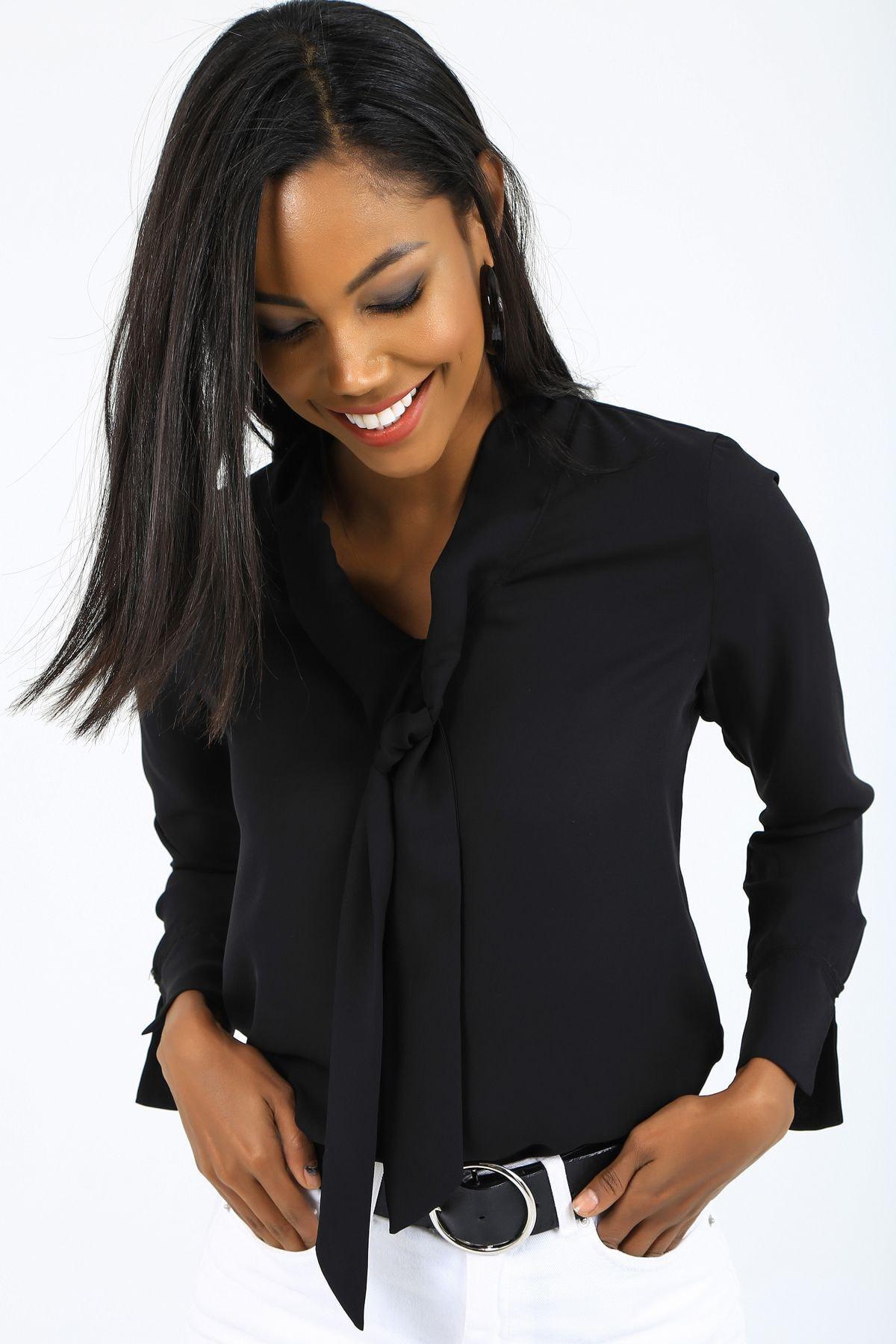 EMJEY Kadın Siyah Önü Bağlamalı Kolları Manşetli Gömlek She020B010059 4