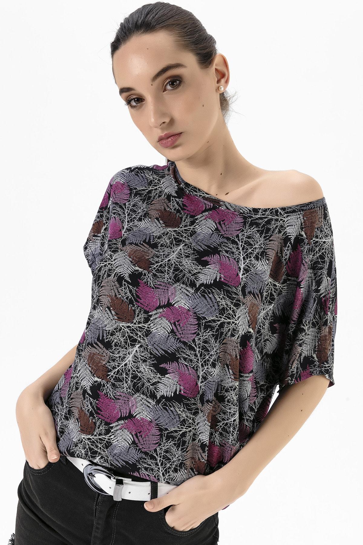 EMJEY Kadın Yaprak Desen Düşük Kol T-Shirt She020Y020001 0