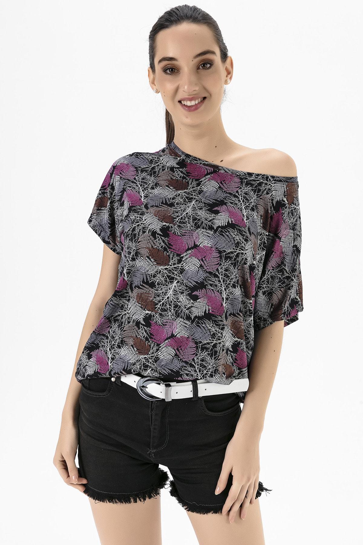 EMJEY Kadın Yaprak Desen Düşük Kol T-Shirt She020Y020001 1