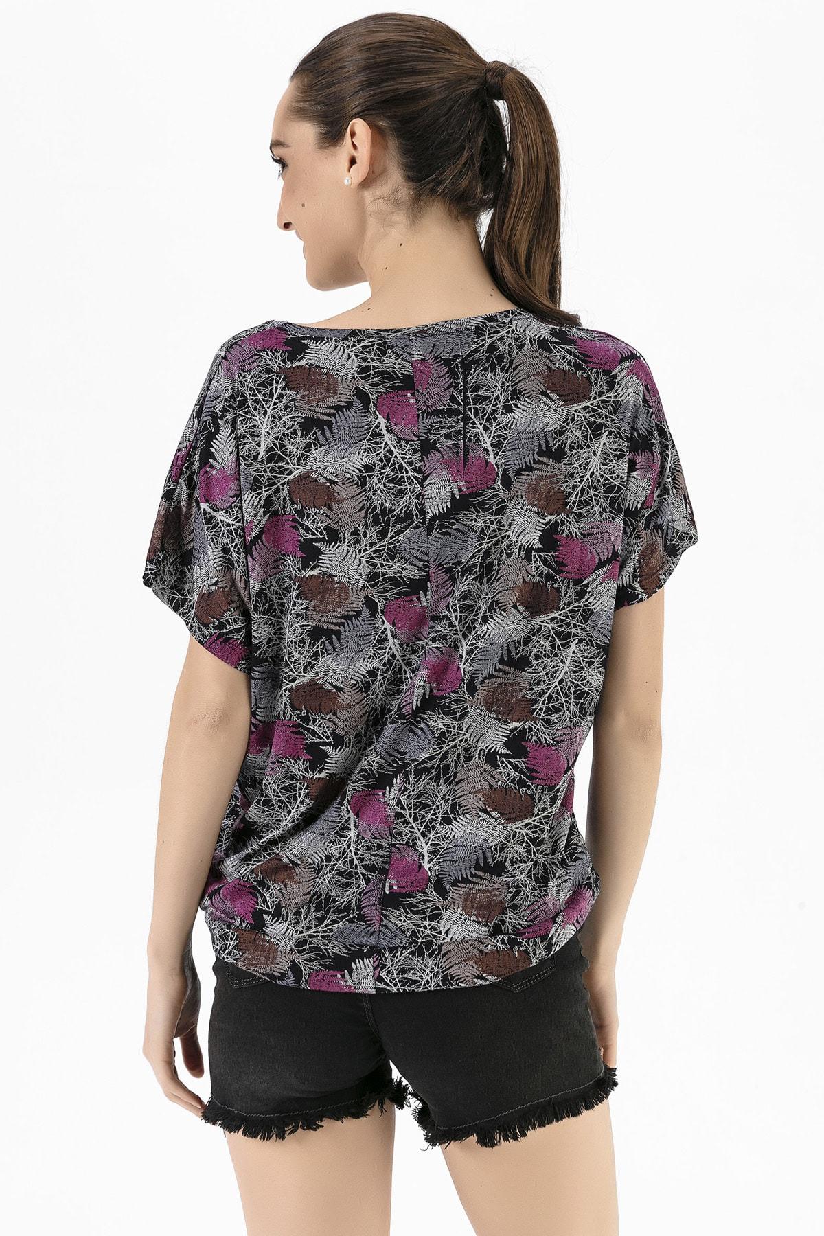 EMJEY Kadın Yaprak Desen Düşük Kol T-Shirt She020Y020001 3