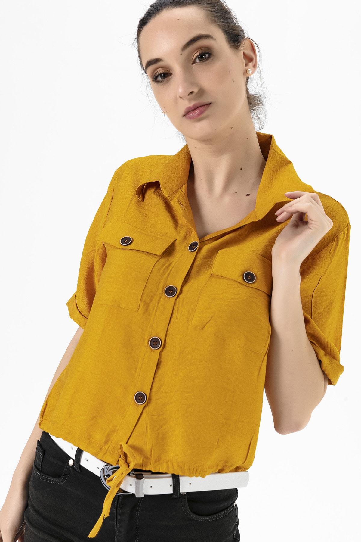 EMJEY Kadın Hardal Beli Bağcıklı Gömlek She020Y010002 0