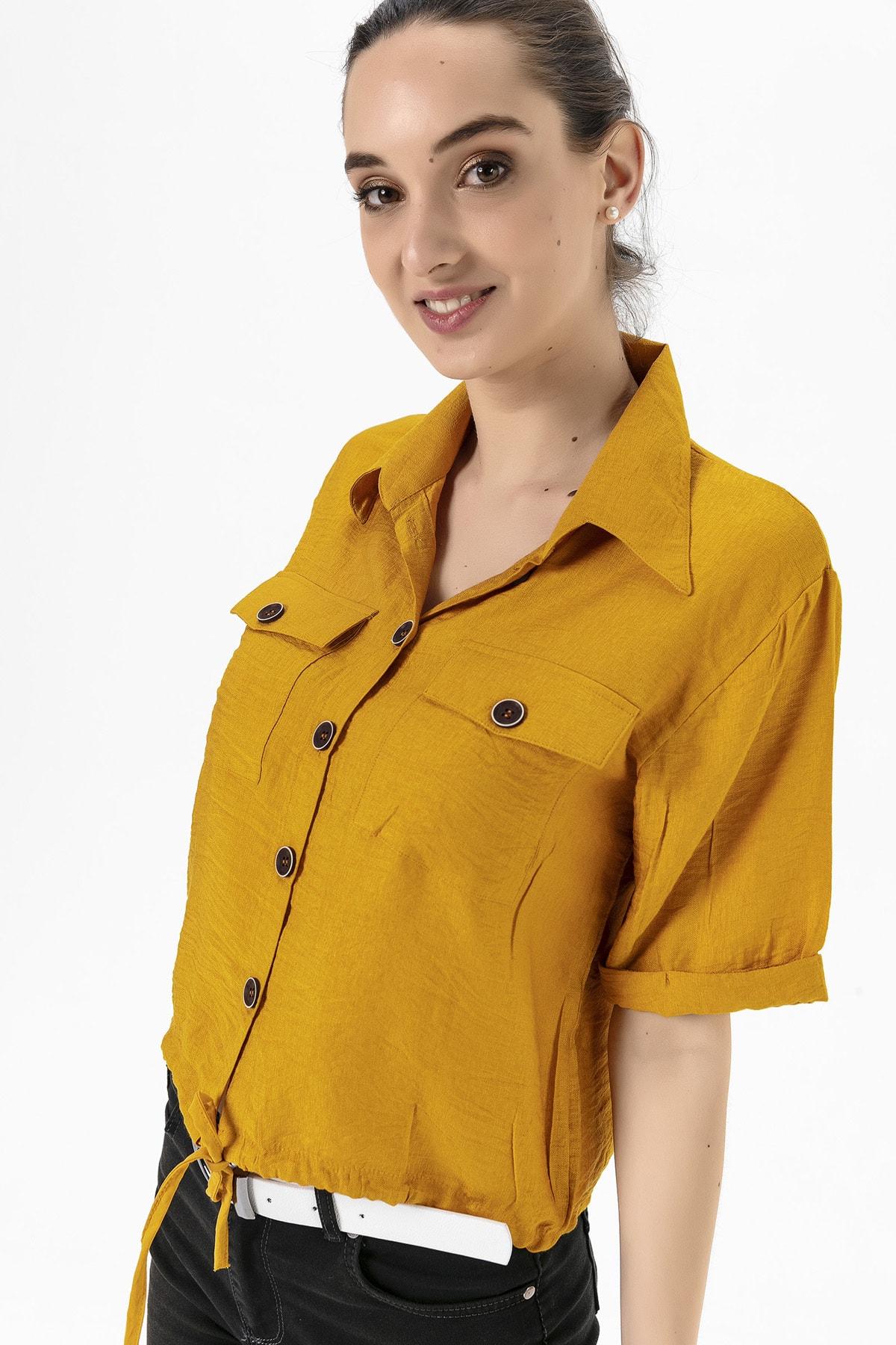 EMJEY Kadın Hardal Beli Bağcıklı Gömlek She020Y010002 1