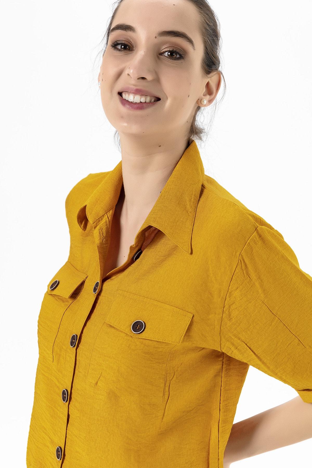 EMJEY Kadın Hardal Beli Bağcıklı Gömlek She020Y010002 2