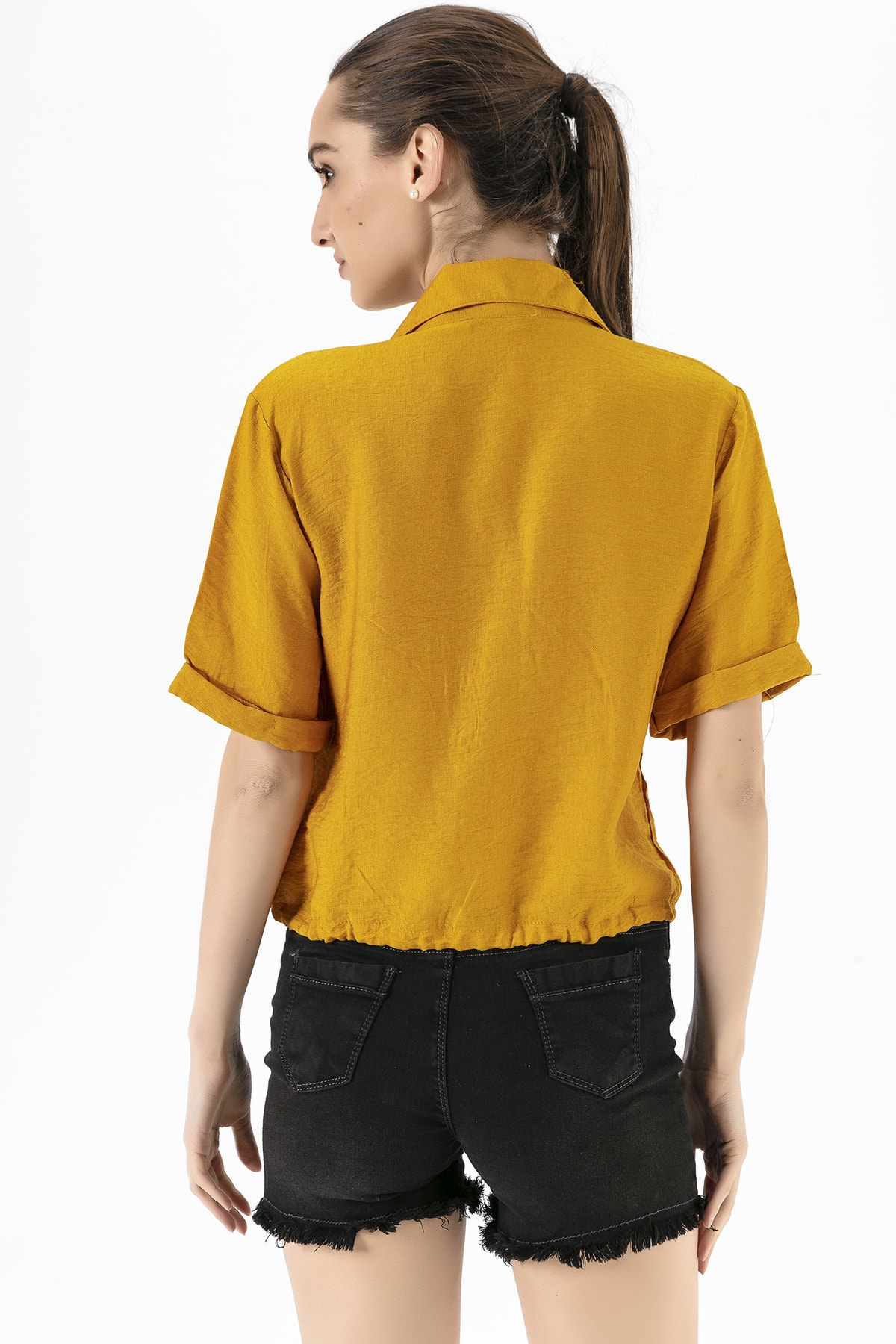 EMJEY Kadın Hardal Beli Bağcıklı Gömlek She020Y010002 3