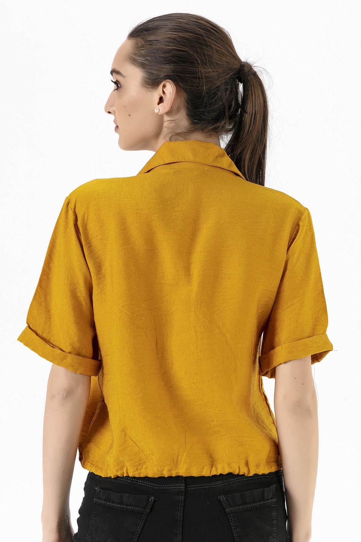 EMJEY Kadın Hardal Beli Bağcıklı Gömlek She020Y010002 4