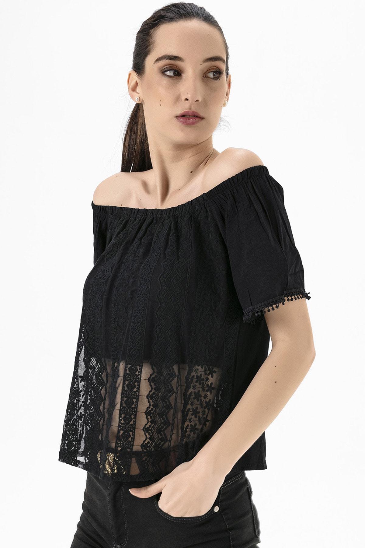 EMJEY Kadın Siyah Madonna Yaka Dantel Bluz She020Y010018 0