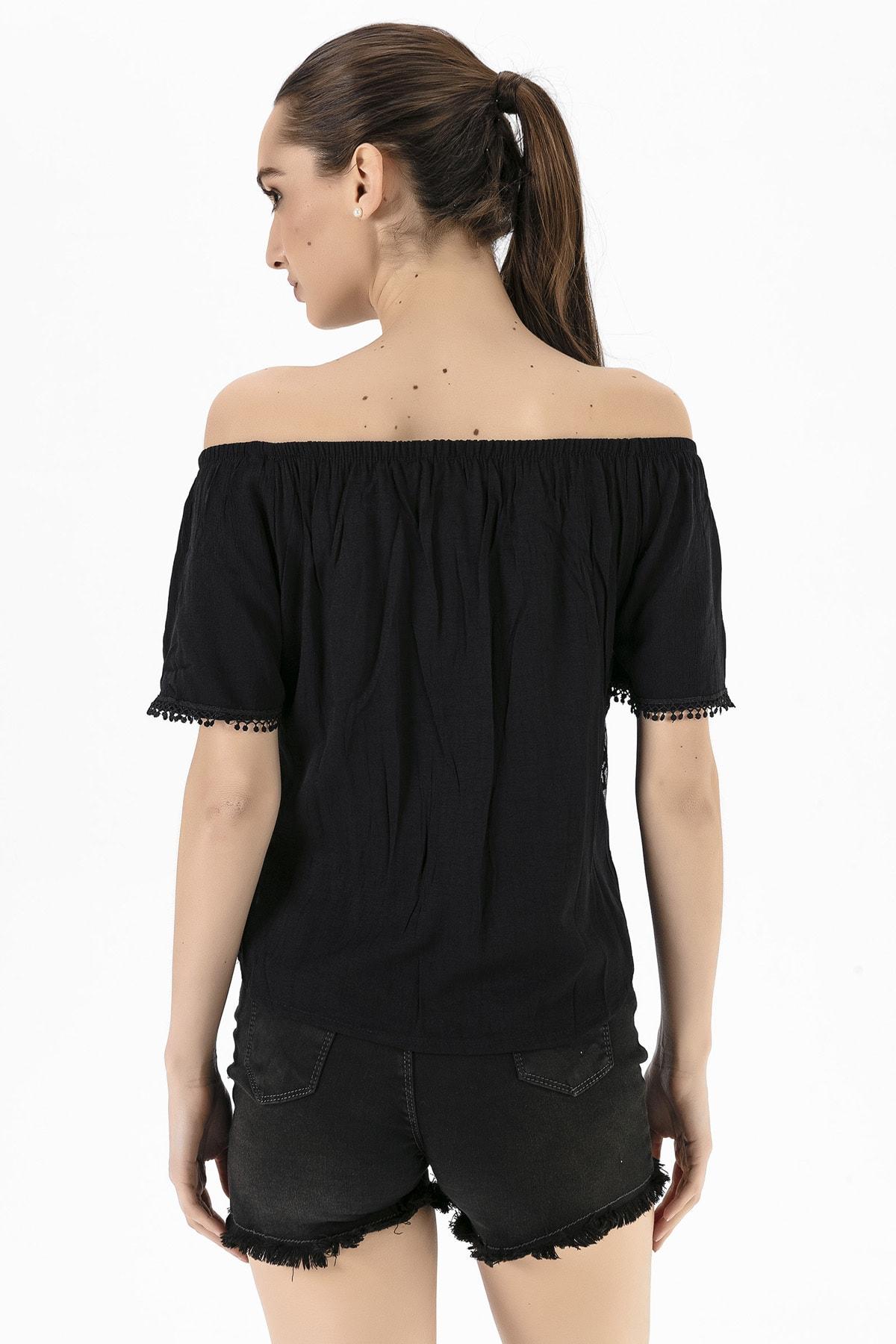 EMJEY Kadın Siyah Madonna Yaka Dantel Bluz She020Y010018 3