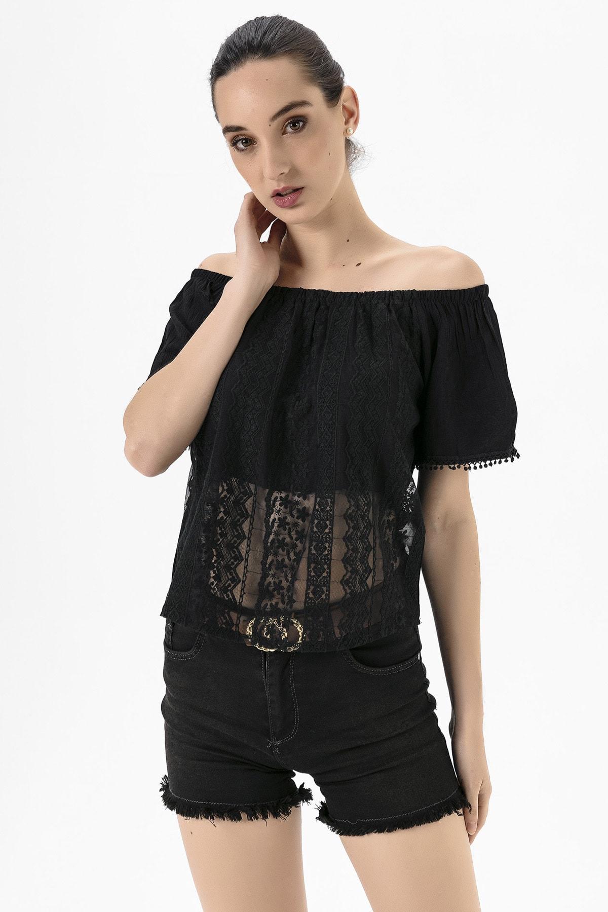 EMJEY Kadın Siyah Madonna Yaka Dantel Bluz She020Y010018 4