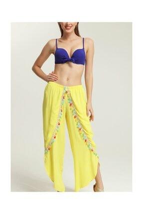 Suwen Kadın Sarı Cuba Pantolon Pareo 1