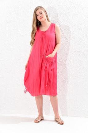 Big Free Kadın Nar Çiçeği İp Ucu Tahta Boncuk Detay Torba Cep Elbise Tb20Yb110005 0