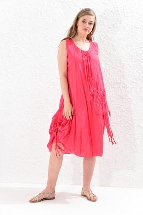 Big Free Kadın Nar Çiçeği İp Ucu Tahta Boncuk Detay Torba Cep Elbise Tb20Yb110005 2