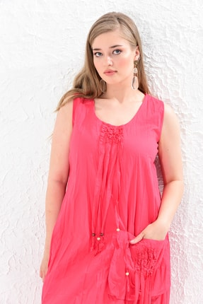Big Free Kadın Nar Çiçeği İp Ucu Tahta Boncuk Detay Torba Cep Elbise Tb20Yb110005 3