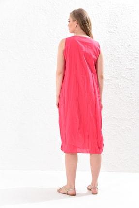 Big Free Kadın Nar Çiçeği İp Ucu Tahta Boncuk Detay Torba Cep Elbise Tb20Yb110005 4