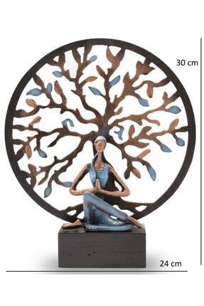 Gift Garden Yoga Yapan Kadın Mavi Küçük Hayat Ağacı Biblo 2