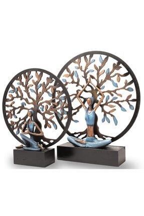 Gift Garden Yoga Yapan Kadın Mavi Küçük Hayat Ağacı Biblo 3