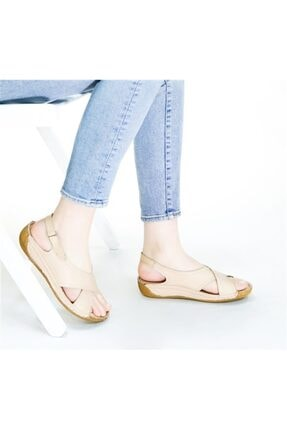 RİKEL DERİ Kadın  Hakiki Deri Bej Sandalet 0
