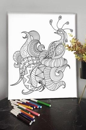 KanvasSepeti Kuş 5 Çocuklar Için Özel Boyanabilir Tablo Mandala Tablo 12li Keçeli Kalem 0