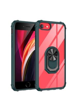Happyshop Apple Iphone 8 Kılıf Renkli Kenarli Şeffaf Yüzüklü Manyetik Mola Kapak+nano Cam Ekran Koruyucu 0