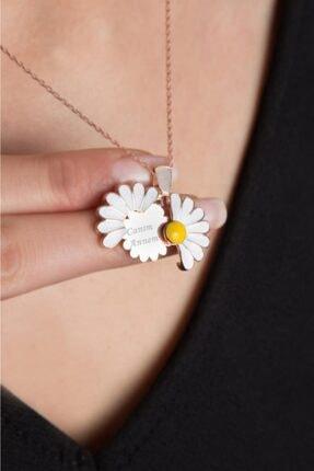 Elika Silver Kadın Canım Annem Yazılı Açılabilir Papatya Rose Kaplama 925 Ayar Gümüş Kolye 2