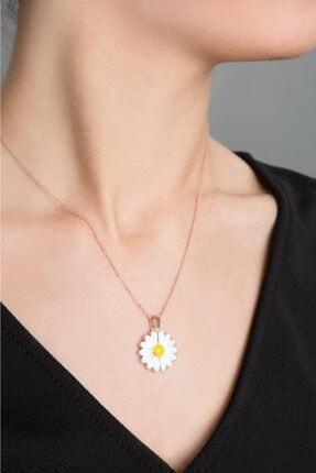 Elika Silver Kadın Canım Annem Yazılı Açılabilir Papatya Rose Kaplama 925 Ayar Gümüş Kolye 3