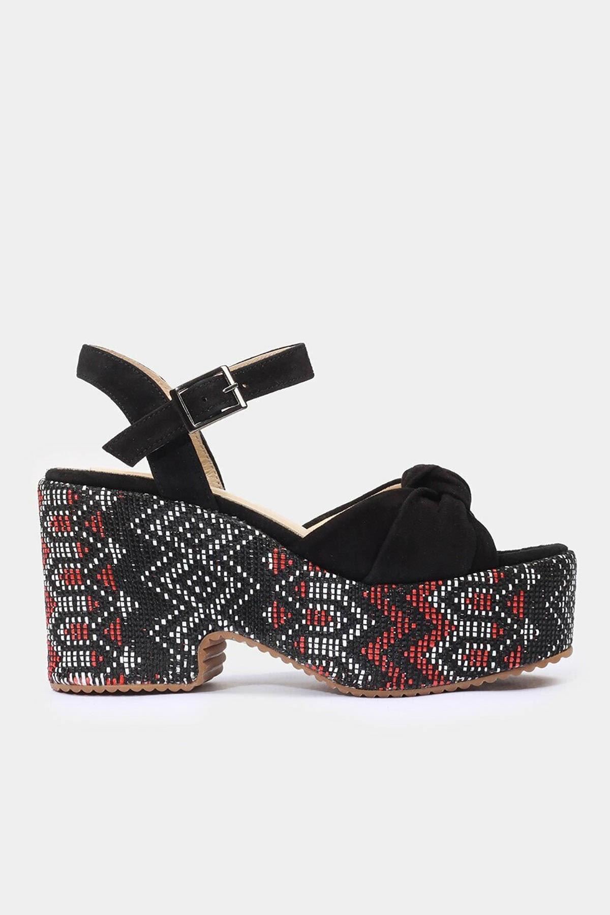 Hotiç Hakiki Deri Siyah Kadın Topuklu Sandalet