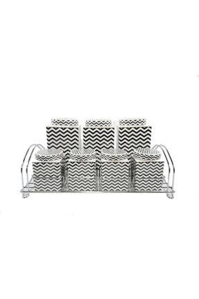 PORBLANCHE -home Porselen 7'li Baharatlık Pxmc24540 Siyah-beyaz Zigzag 0