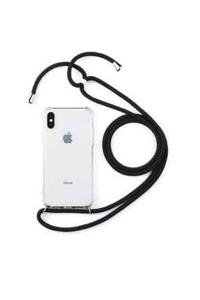 Atalay Samsung Galaxy A71 Şeffaf Boyun Askılı Siyah Kılıf 0