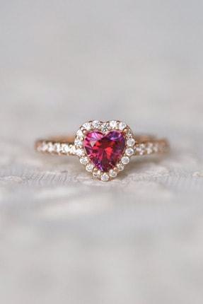 Crystal Diamond Zirconia Labaratuvar Pırlantası 1 Carat Tektaş Kalp Yakut Yüzük 0
