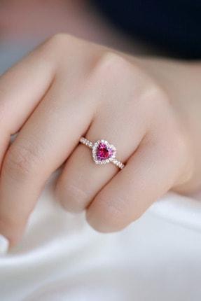 Crystal Diamond Zirconia Labaratuvar Pırlantası 1 Carat Tektaş Kalp Yakut Yüzük 2
