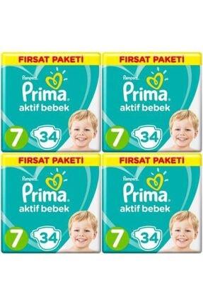 Prima Fırsat Paketi 7 Numara 34*4=136 Adet Bebek Bezi 0