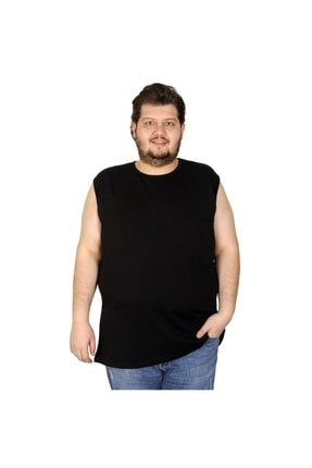 Picture of Battal Beden Erkek Kolsuz Tshirt Düz 20003 Siyah