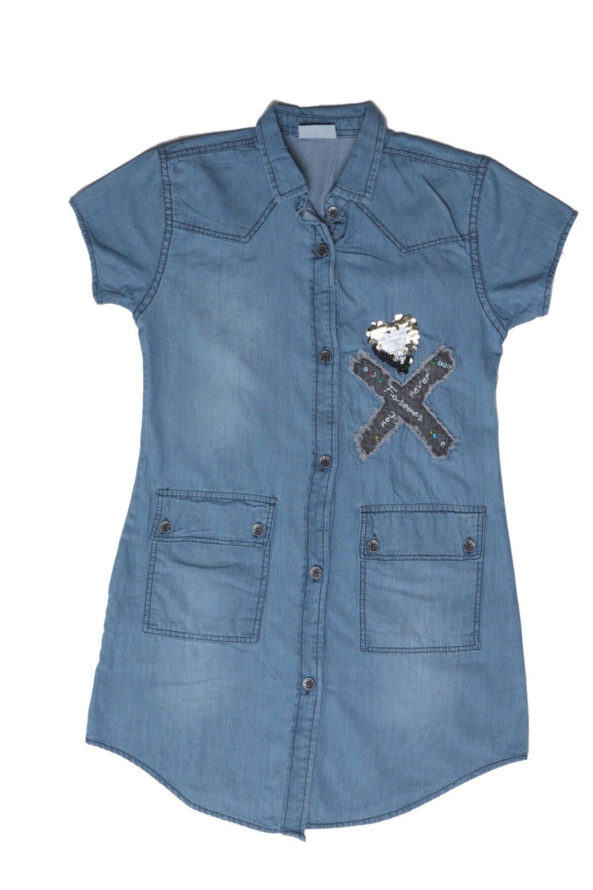 Kız Çocuk Önden Cepli Kot Elbise