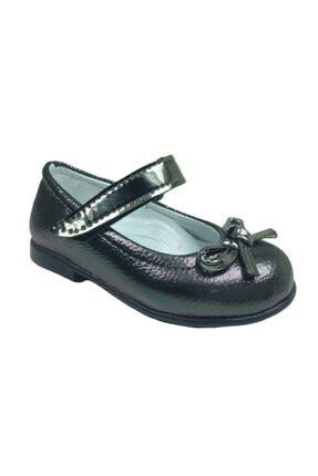 ORTAÇ Tıpış Tıpış Ilkadım Platin Rugan Bıyık Fiyonk Kız Çocuk Babet Ayakkabı Içi % 100 Deri Abiye 1