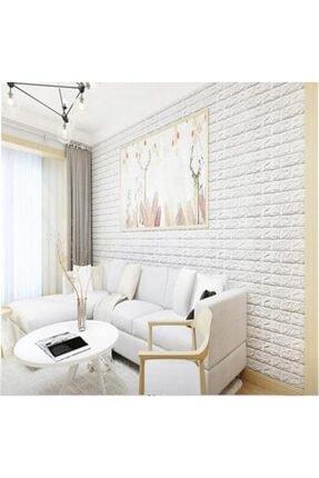 RENKLİ EVİM Kendinden Yapışkanlı Esnek Sünger Beyaz Tuğla Duvar Paneli 1