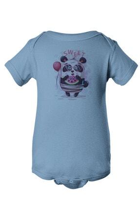 Angemiel Baby Tatlı Gözlük Takan Panda Erkek Bebek Zıbın Mavi 0