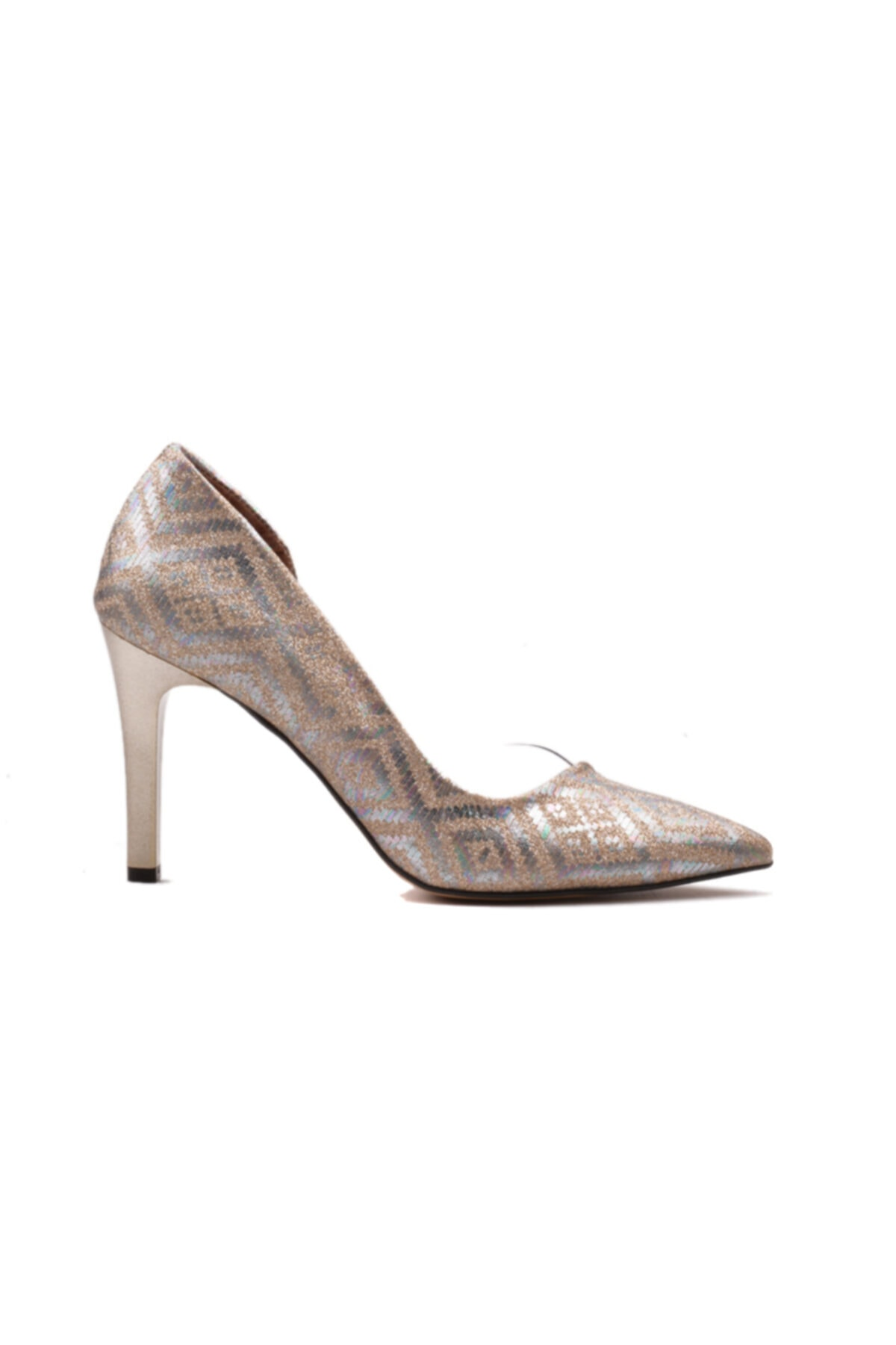 derinet Klasik Altın Baklava Simli Dekolteli Kadın Stiletto