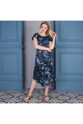Elbise Uzun Maxi Lacivert Çiçekli Madonna Yaka KZMDELhuxz23