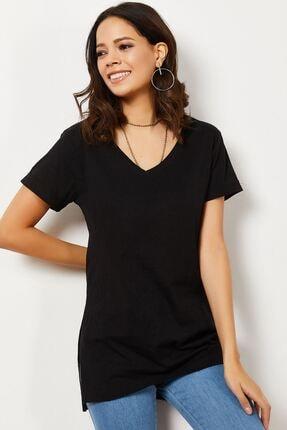 Zafoni Kadın V Yaka Yırtmaçlı T-shirt 3