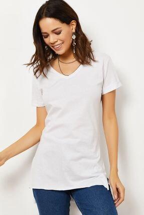 Zafoni Kadın V Yaka Yırtmaçlı T-shirt 1