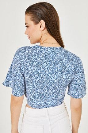 New Now Kadın Mavi Beyaz Mini Çiçekli Beli Bağlamalı Crop Bluz 20Y905105 4