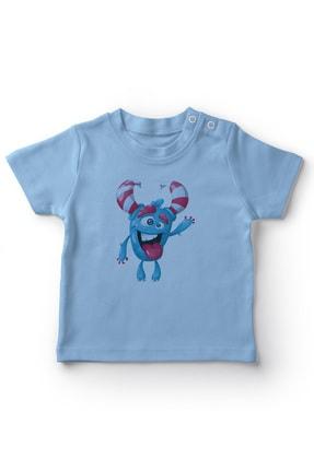 Angemiel Baby Şeker Boynuzlu Selam Veren Canavar Erkek Bebek Tişört Mavi 0
