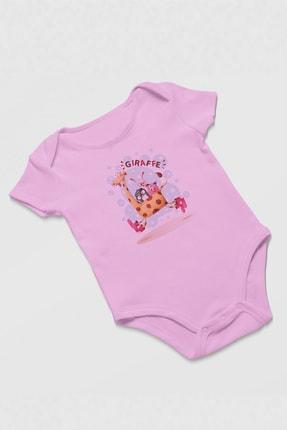 Angemiel Baby Koşan Zürafa Üzerindeki Şirin Hayvanlar Kız Bebek Zıbın Pembe 1